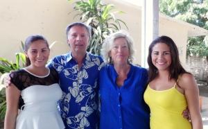 Cliff & Barb du Fresne with twins Treisy & Greisy, both high school scholarship students.